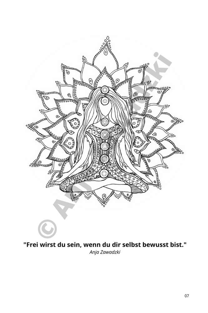 Chakra und Lotusblume Ausmalbild