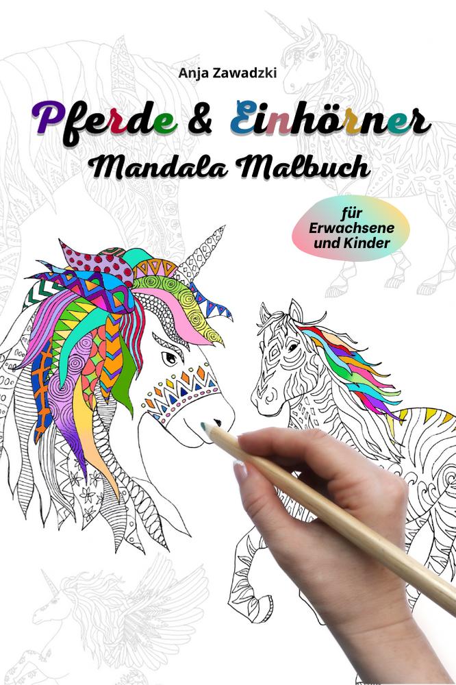 Schönes Ausmalbuch mit Pferden und Einhörnern